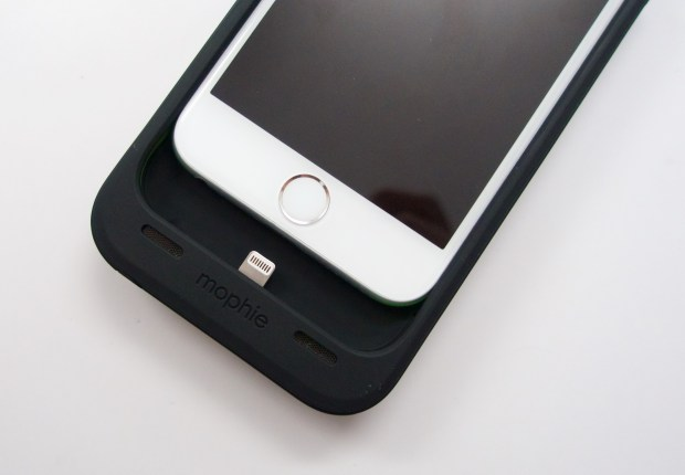 You can charge and sync the iPhone with a Micro USB cable in the new Mophie iPhone 6 battery cases.