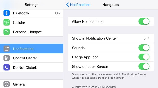 Control iPhone 6 Plus notifications.