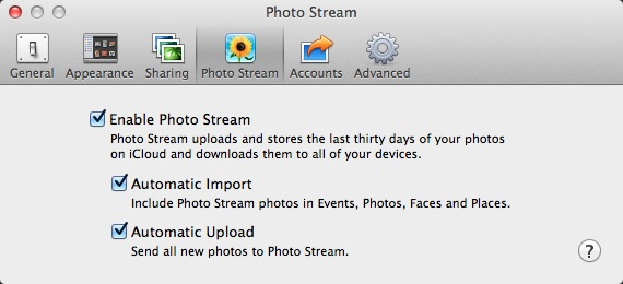 IPhoto Photo Stream Settings