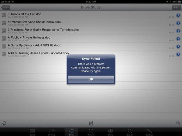 Documents To Go Server Error