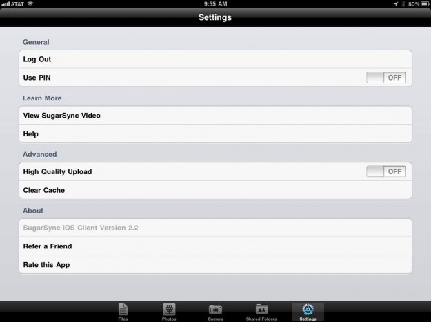 Sugar Sync iPad App Settings