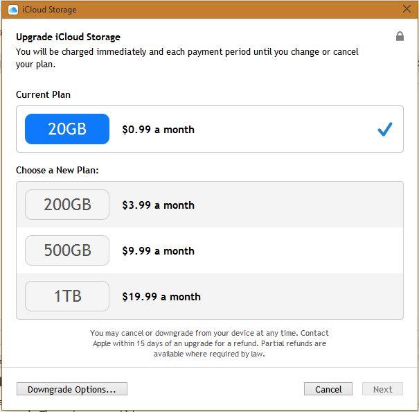icloud storage options