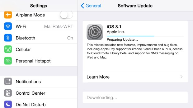 Here's how long the iOS 8.1 upgrade takes.