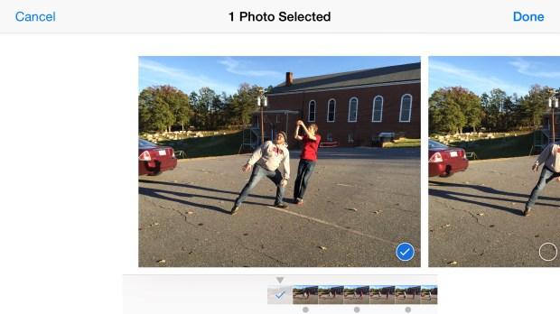 iphone 6 plus burst shot mode selection
