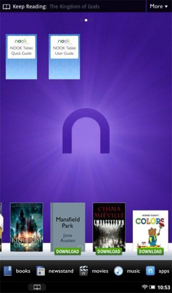 Nook Tablet Home Screen