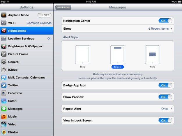 Change how Notifications Center behaves in Settings