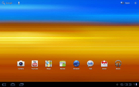 Samsung Galaxy Tab 10.1 Home screen before TouchWiz