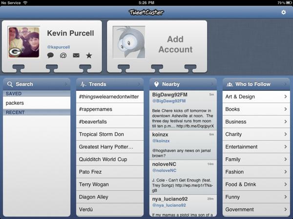 TweetCaster Opening Screen