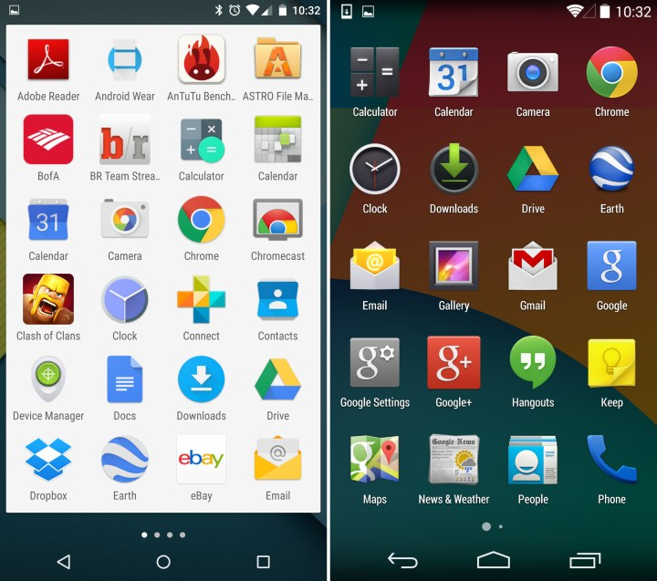 Android 5.0 vs Android 4.4 - App Tray