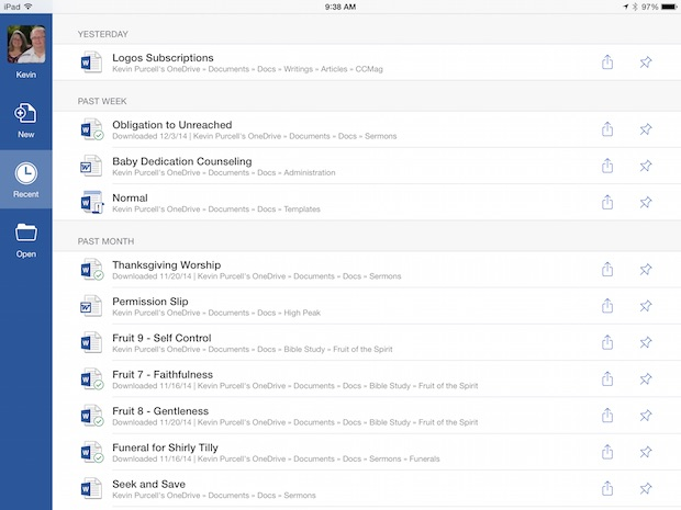 word for ipad recent documents
