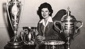 USGA image of Louise Suggs with trophies