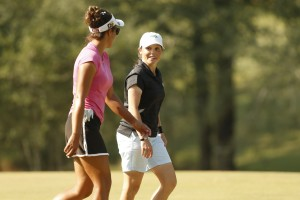 Lauren Greenlief, left, and Margaret Shirley chat as the walk along the 7th fairway during the final round of the 2015 U.S. Women's Mid-Amateur at Squire Creek Country Club in Choudrant, La., on Thursday, Oct. 8. (Copyright USGA/Matt Sullivan)