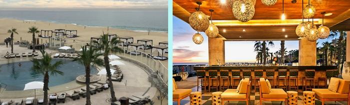 Image of beach beds and Peninsula Bar