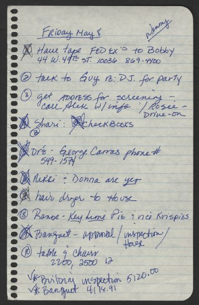Lot Detail Madonna Handwritten To Do List