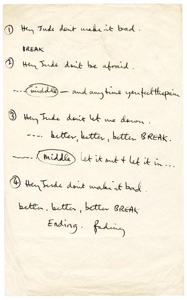 "Risultati immagini per Paul McCartney Extremely Rare Original ""Hey Jude"" Handwritten"