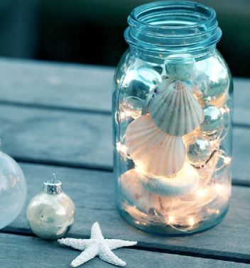 beach christmas mason jar