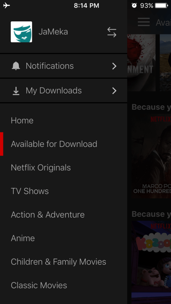 how to download netflix for flights