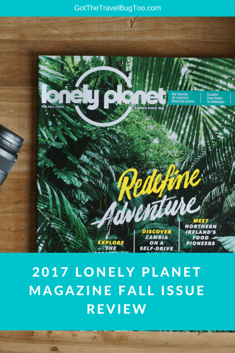 Lonely Planet Magazine Fall issue pin
