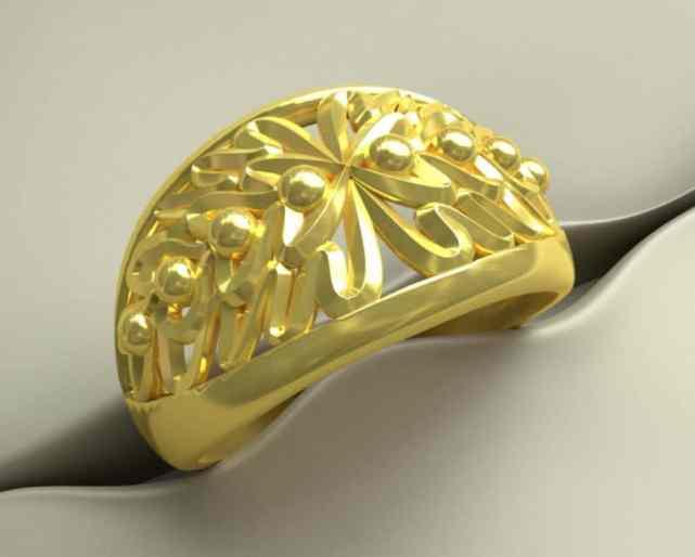 gouden ring met eikeblad motief