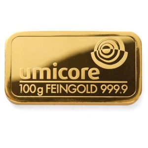 Umicore 100 gram goudbaar