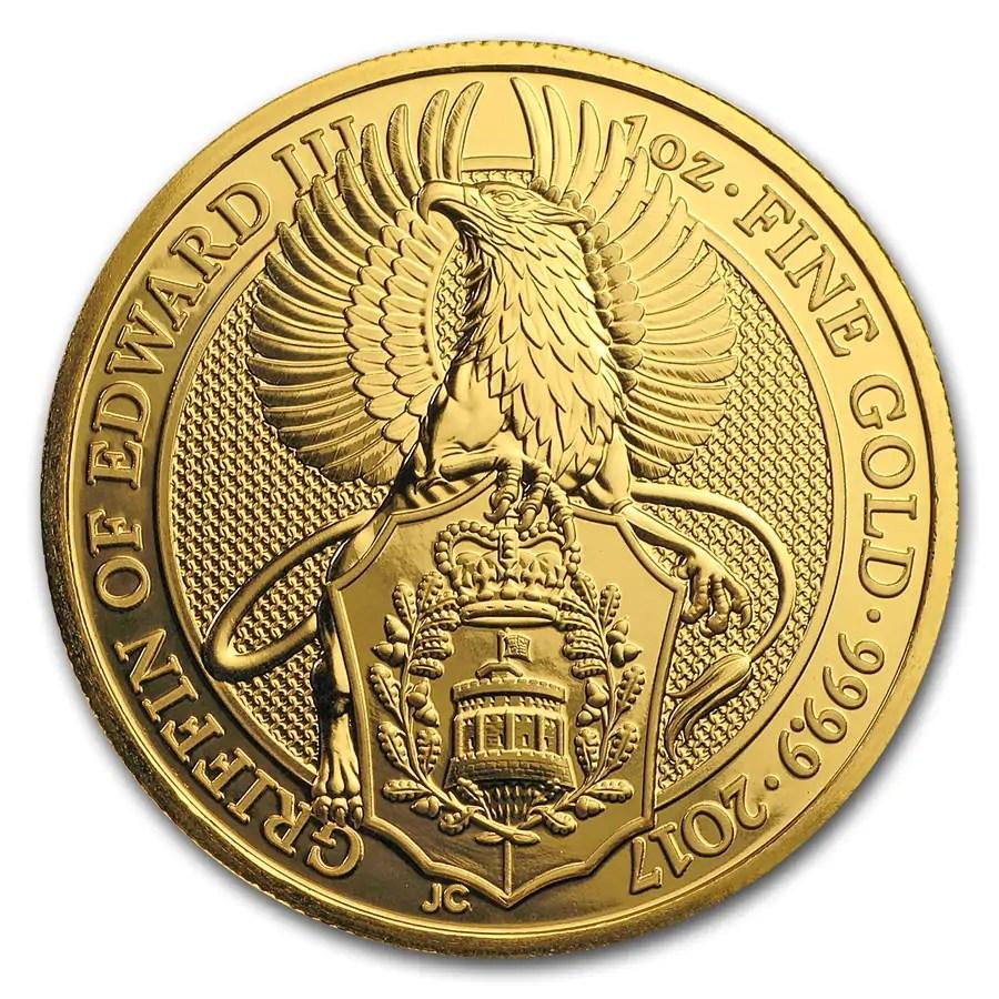 Queens Beast Griffin 1 troy ounce gouden munt 2017