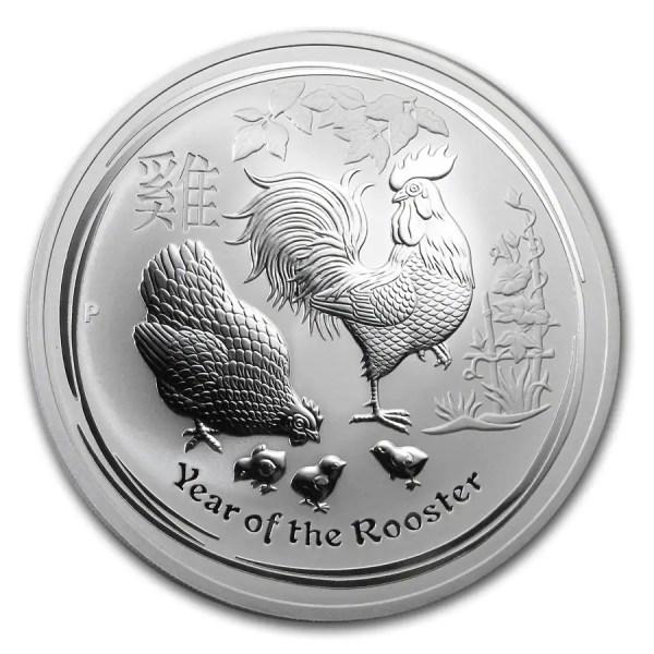 Lunar Haan 10 troy ounce zilveren munt 2017