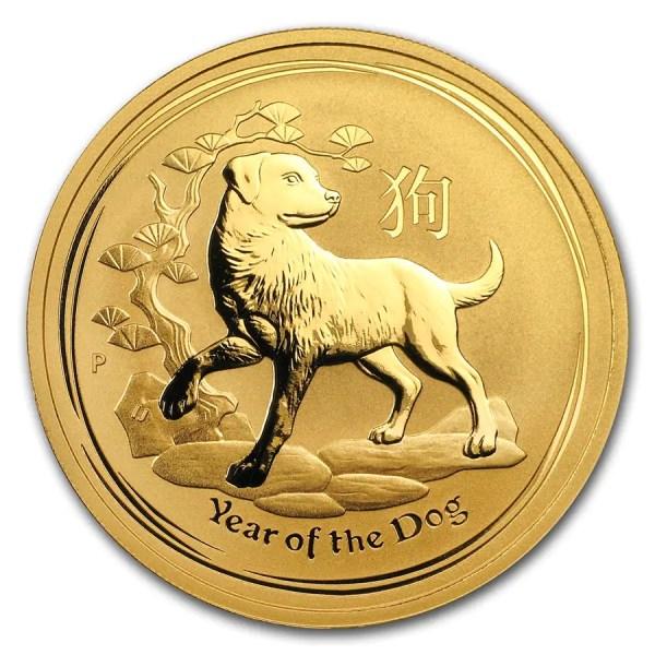 Lunar Hond 1 troy ounce gouden munt 2018