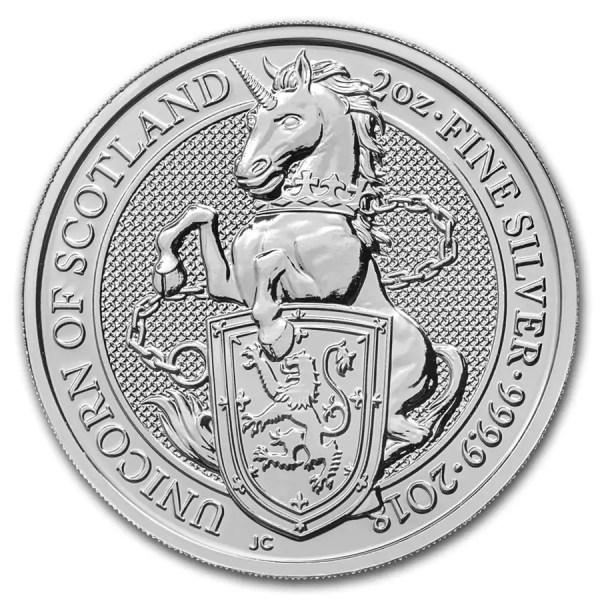 Queens Beast Unicorn 2 troy ounce zilveren munt 2018