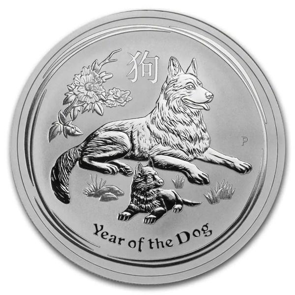 Lunar Hond 2 troy ounce zilveren munt 2018