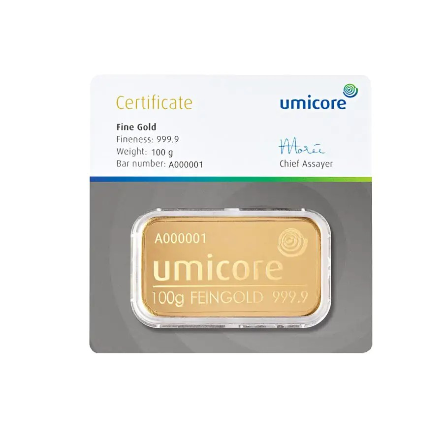 Umicore 100 gram goudbaar met certificaat