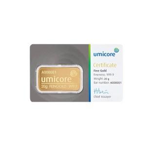 Umicore 20 gram goudbaar met certificaat