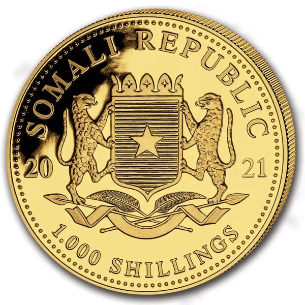 Somalische Olifant 1 troy ounce gouden munt 2021