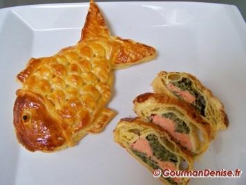 Saumon en croute en forme de poisson