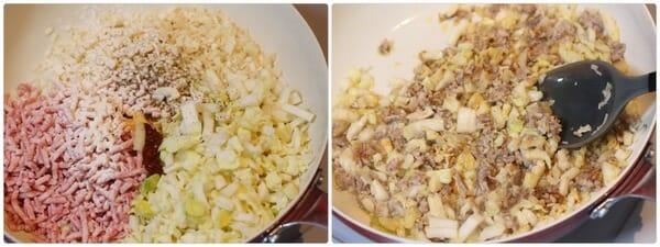 フライパンで炒めて作る餃子味のそぼろレシピ工程写真
