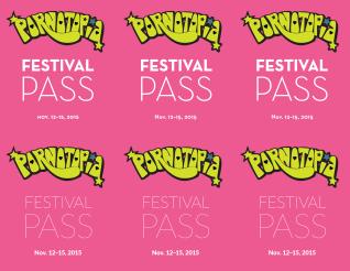 Pornotopia 2015 Festival Passes, front