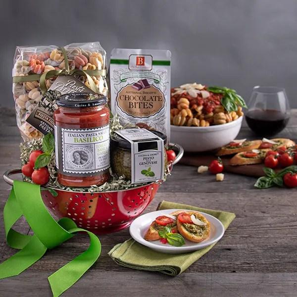 Italian Gift Basket With Keepsake Colander By