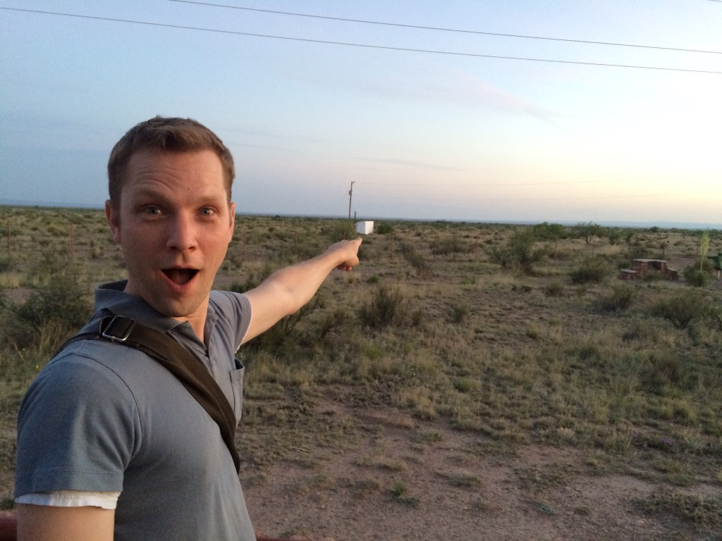 Kevin jokingly points to the field not expecting to see any of Marfa's infamous lights, floating orbs believed to be aliens or just the locals messing with us