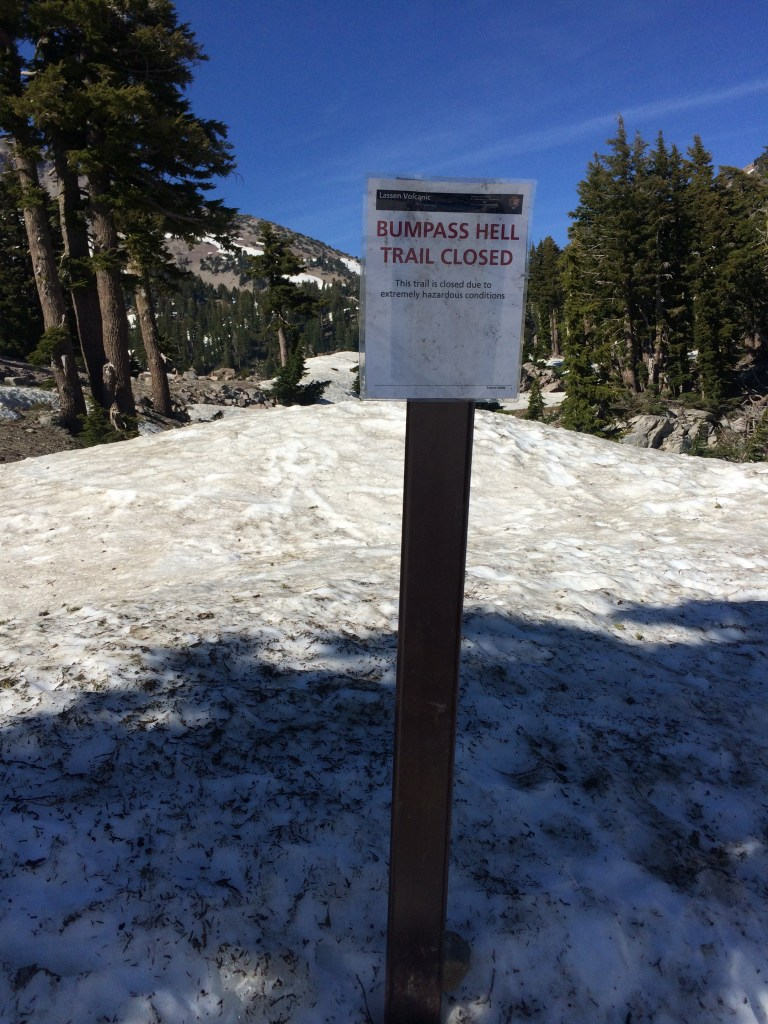 Bumpass Trail - is a no go. Closed for massive snowfall in July