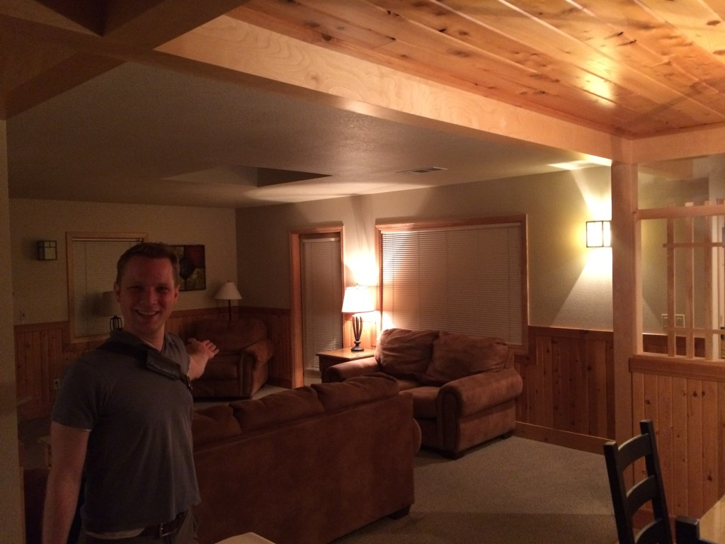 Ready to call it a night - setting in at the heated cabin at the Mt. Shasta Resort