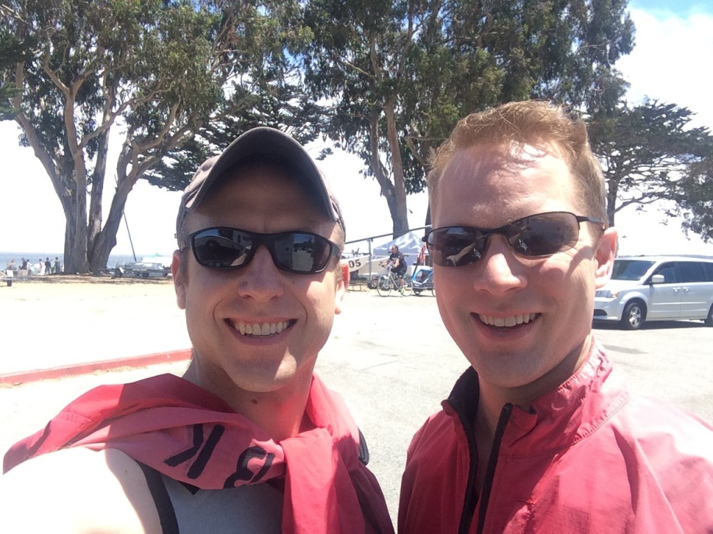 Kevin and I area all geared up in our rental wet suits, jackets and life vest