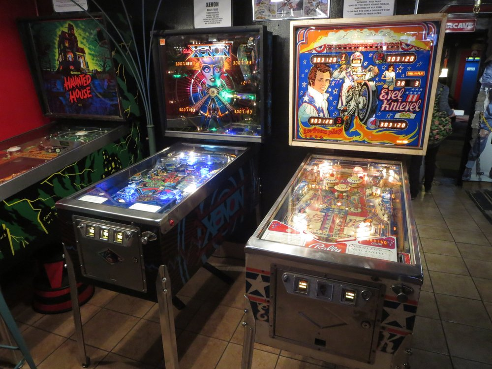 Vintage pinball machines at the Pinball Museum downtown