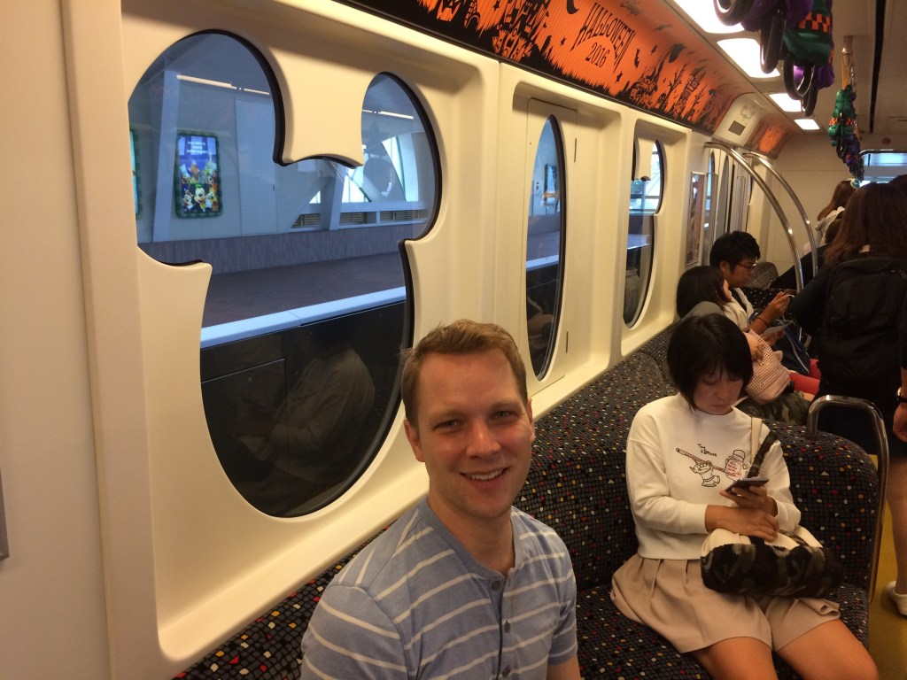 Riding the special Disney subway to Disney Sea