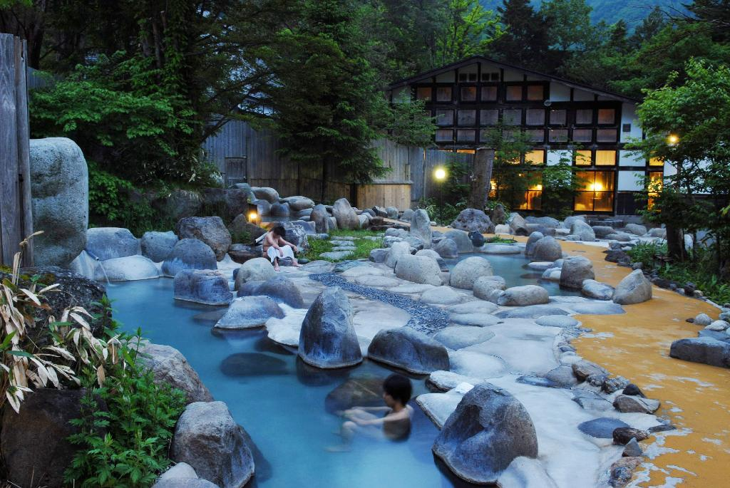 Enjoying the Japanese spa in the alps