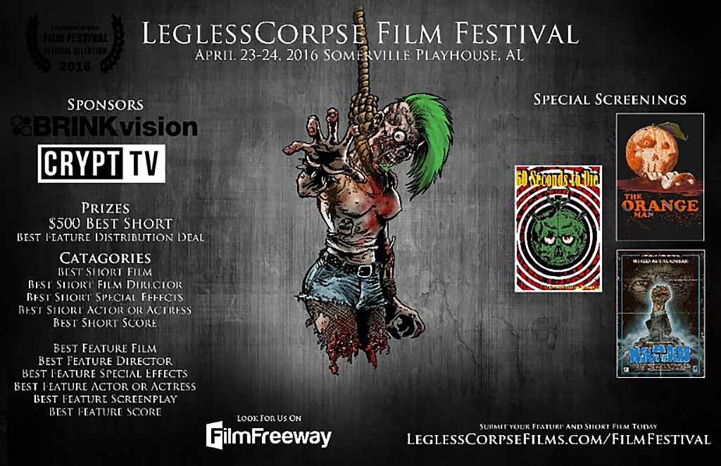 Call for Submissions: First Annual LeglessCorpse Film Festival (April 23-24, 2016)