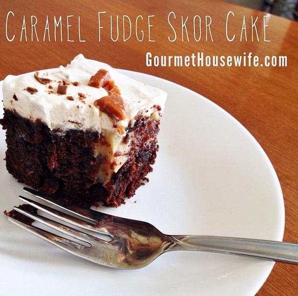 Caramel Fudge Skor Cake
