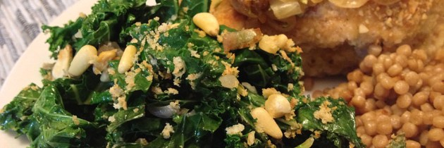 Sautéed Kale Salad with Panko and Pine Nuts