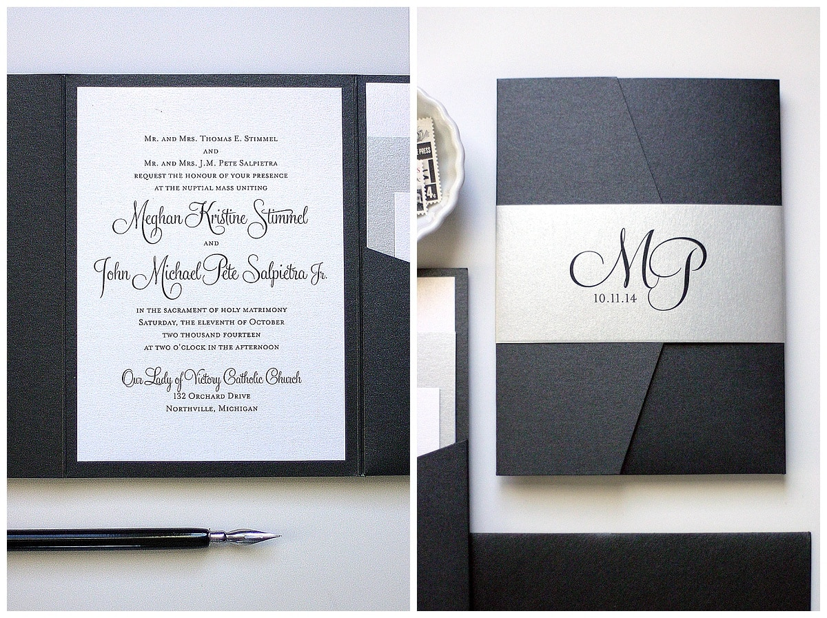Black And Silver Wedding Invitations Come In Many Different Presentations.  This Invitation With The Pocket To Hold The Inserts Keeps The Package Clean  And ...