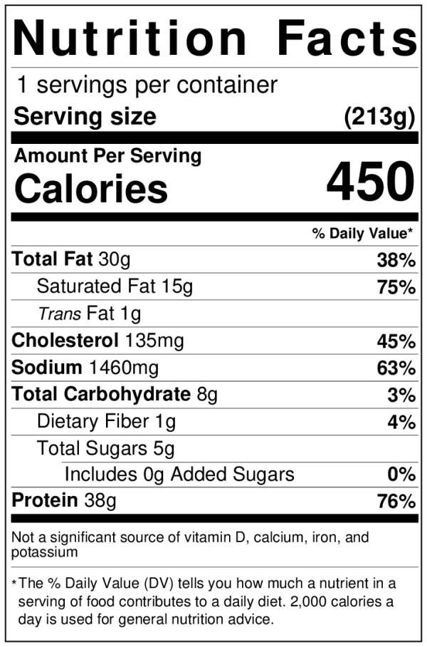 Evol Cheese Pizza NutritionLabel