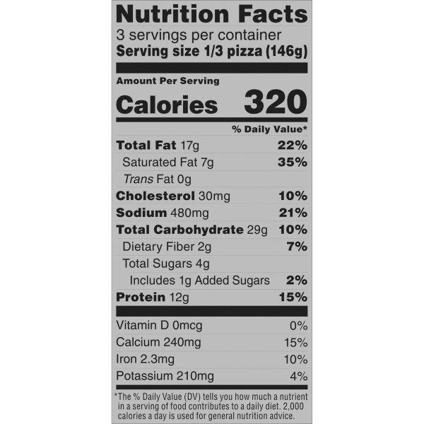 Margherita Crispy Thin Crust Pizza Nutrition