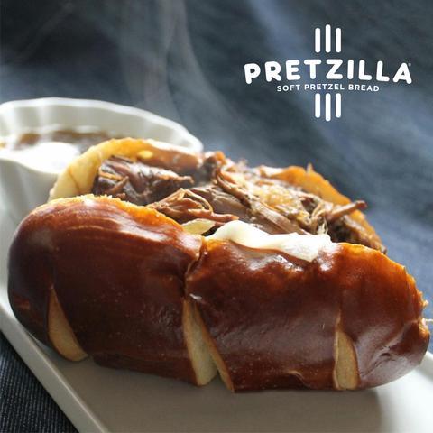 Pretzilla Sausage Bun Plated 1